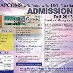 APCOMS UET Taxila Commences Admission Fall 2013