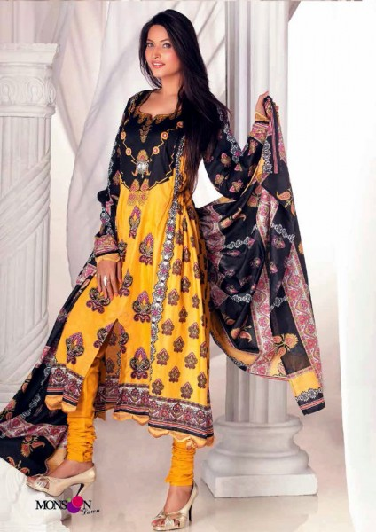 Al-Zohaib Latest Monsoon Lawn Black & Yellow Dress