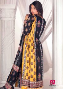 Al-Zohaib Latest Monsoon Lawn Collection 2013 awesome yellow & black dress