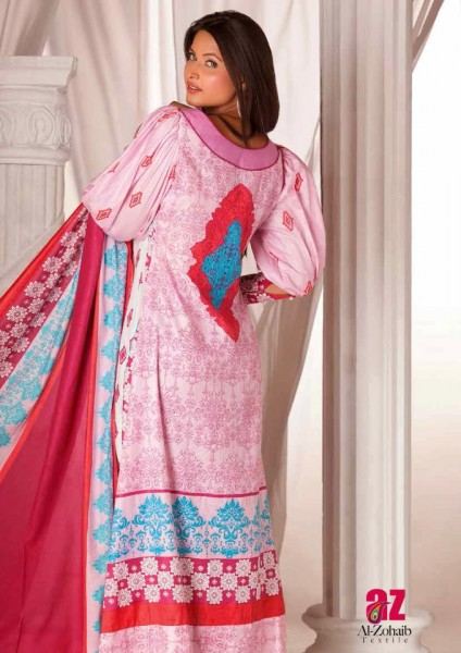 Al-Zohaib Latest Monsoon Lawn Collection pink dress
