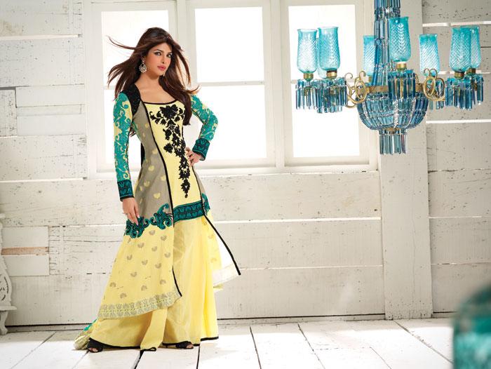 Pryanka Chopra brand yellow lawn