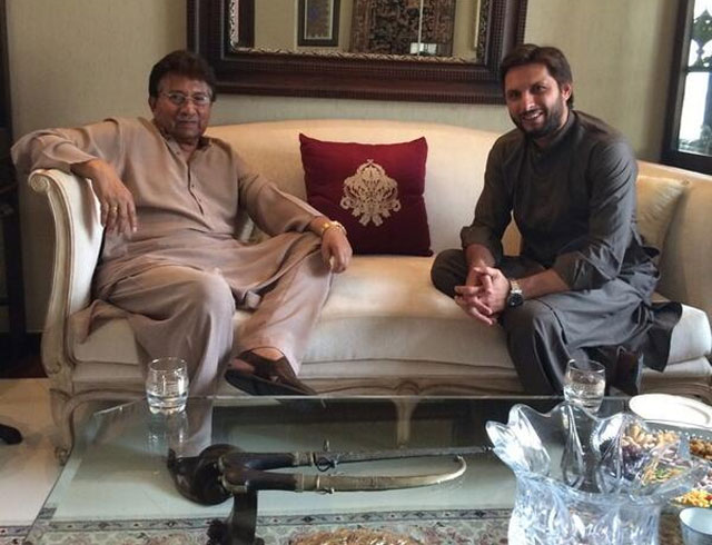 Shahid Afridi Meets Former President Pervaiz Musharraf