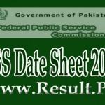 FPSC- CSS Date Sheet 2015