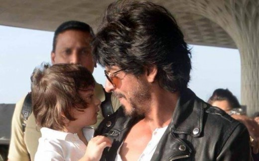 "Shah Rukh Khan with AbRam to promote film ""Raees"""