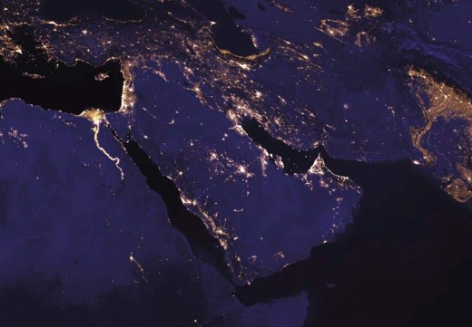 Middle East is in the middle of this image whereas Pakistan is at the right side of it