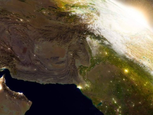 This picture of Pakistan from space show the snow covering a huge part of the land