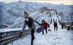 Tourists Enjoy in Unique Way in China