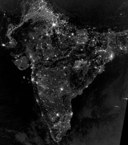 Pakistan and India from space during the night