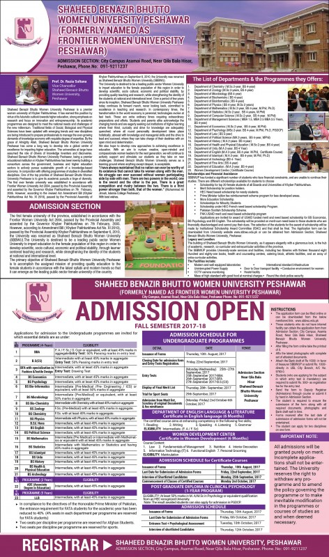 SBBW University Peshawar Fall Admissions 2017
