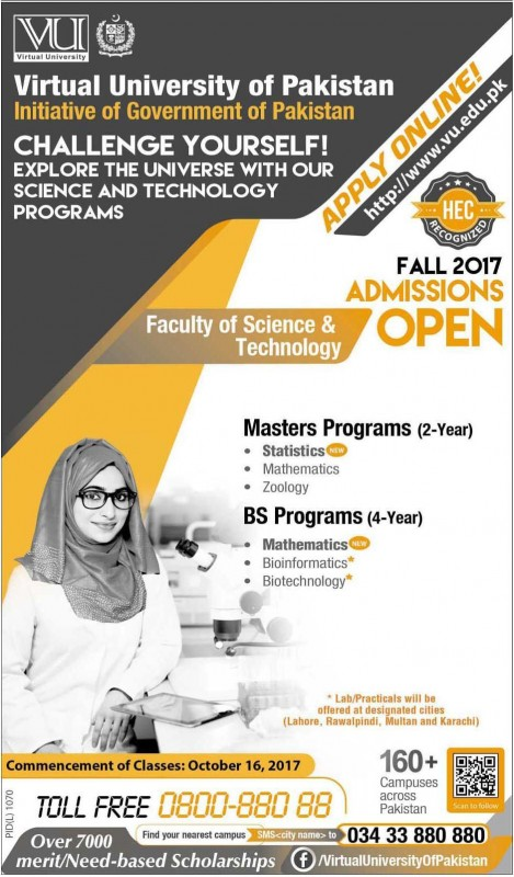 VU Fall Semester Admission 2017