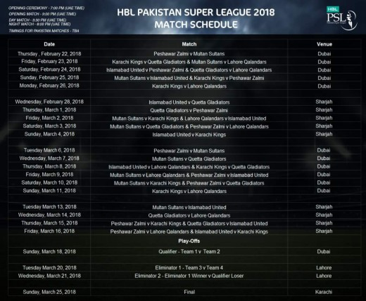 PSL Official Schedule 2018