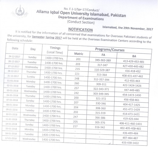 AIOU-Date-Sheet-for-Overseas-Exams-of-Spring-2017