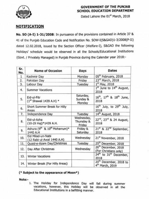 Holidays Schedule 2018 Punjab