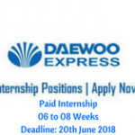 Daewoo Pakistan Summer Internship 2018