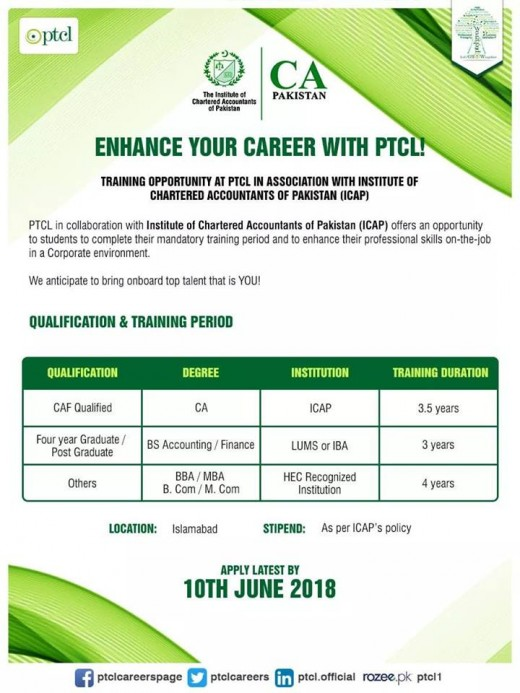 PTCL Training Opportunity 2018 Advertisment