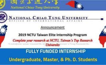 NCTU Taiwan Internship Program 2019