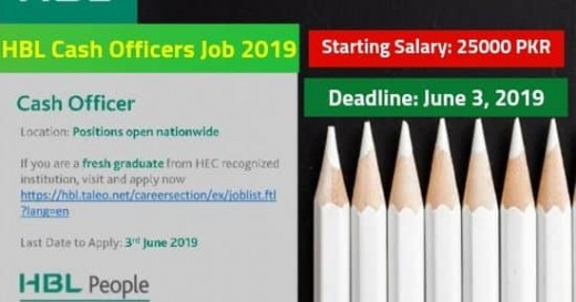 HBL Jobs 2019 For Cash Officers in Pakistan – 25,000 Salary