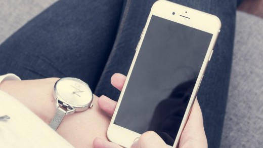 girl with phone handset mobile
