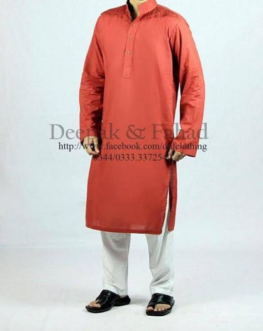 Deepak and Fahad Men Eid Collection 2013 Red Kurta Photo