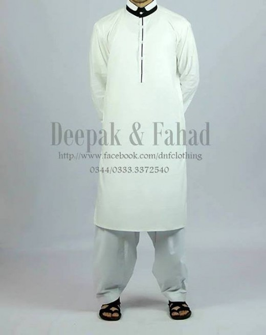 Deepak and Fahad Men Eid Collection 2013 Beautiful White Kurta Image