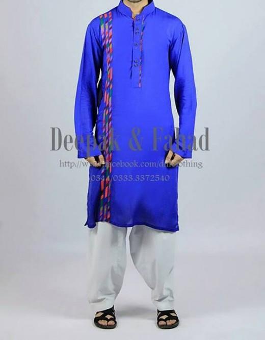 Deepak and Fahad Men Eid Collection 2013 Blue Dress Picture