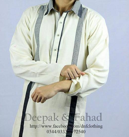Deepak and Fahad Men Eid Collection 2013 White Kurta Pic