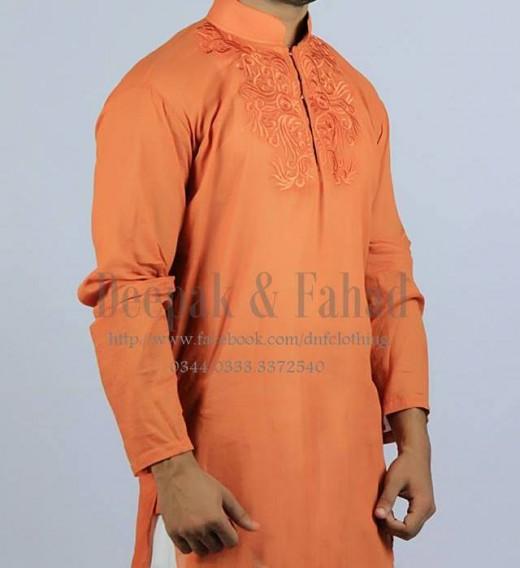 Deepak and Fahad Men Eid Collection 2013 Orange Kurta Photograph