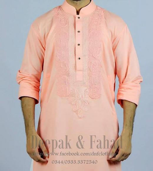 Deepak and Fahad Men Eid Collection 2013 Pink Kurta Snap