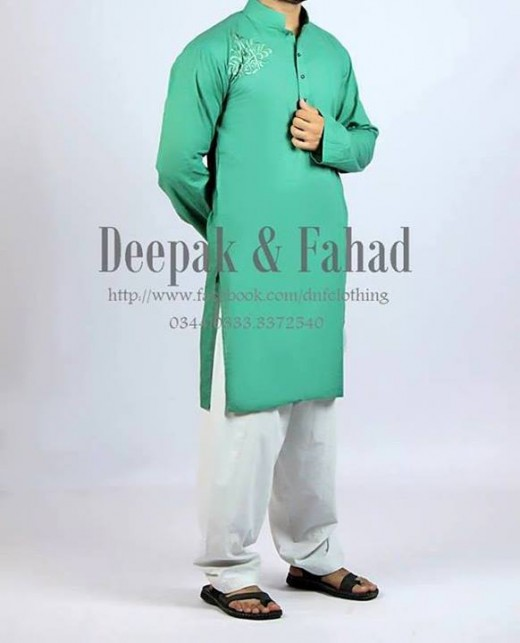 Deepak and Fahad Men Eid Collection 2013 Green Kurta Photo