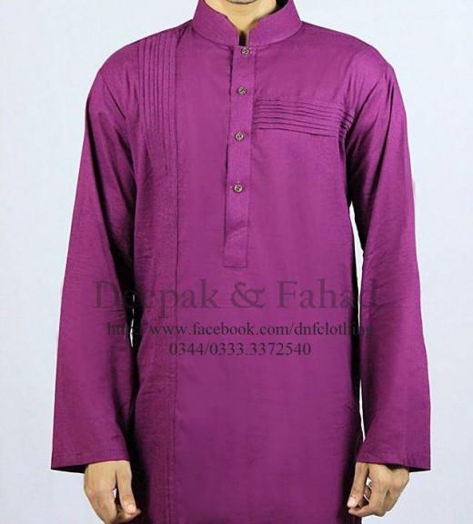 Deepak and Fahad Men Eid Collection 2013 Purple Kurta Pic