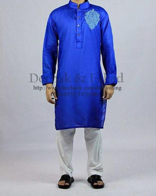 Deepak and Fahad Men Eid Collection 2013 Blue Kurta Photo