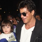 """Shah Rukh Khan with AbRam to promote film """"Raees"""""""