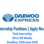 Daewoo Pakistan Summer Internship 2018