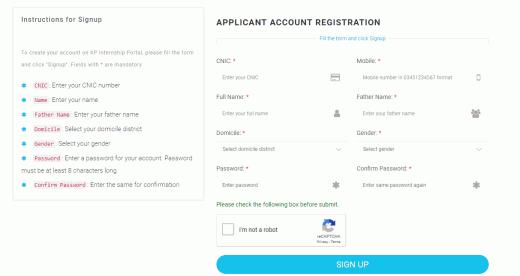 Applicant Account