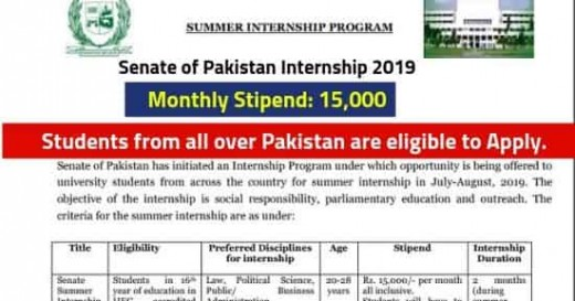 Senate of Pakistan Summer Internship Program 2019