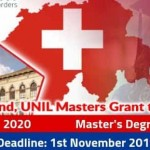 University of Lausanne Scholarship in Switzerland 2020