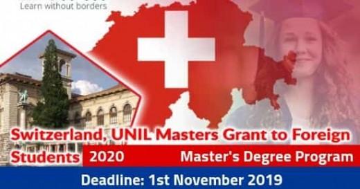 University of Lausanne Scholarship in Switzerland 2020