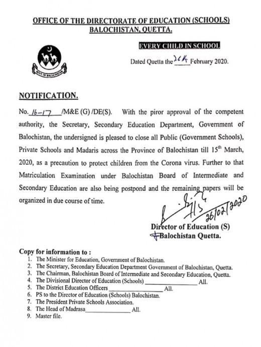 Sindh Balochistan Shut Down Schools Due To Deadly Corona Virus